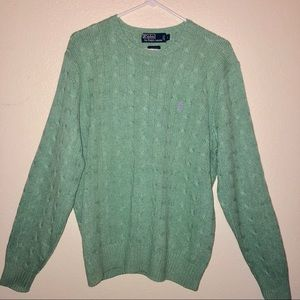 POLO RALPH LAUREN green silk cable knit sweater